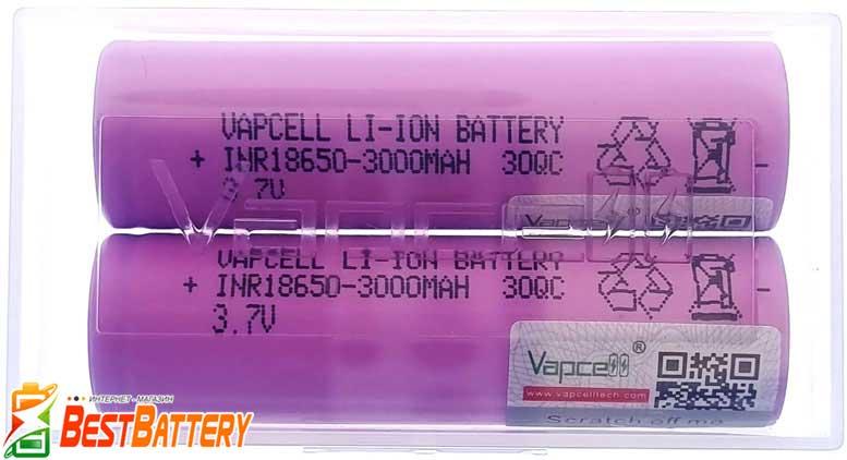 Аккумулятор VapCell 30QC 18650 3000 mAh INR 15A (30А) в фирменном боксе.