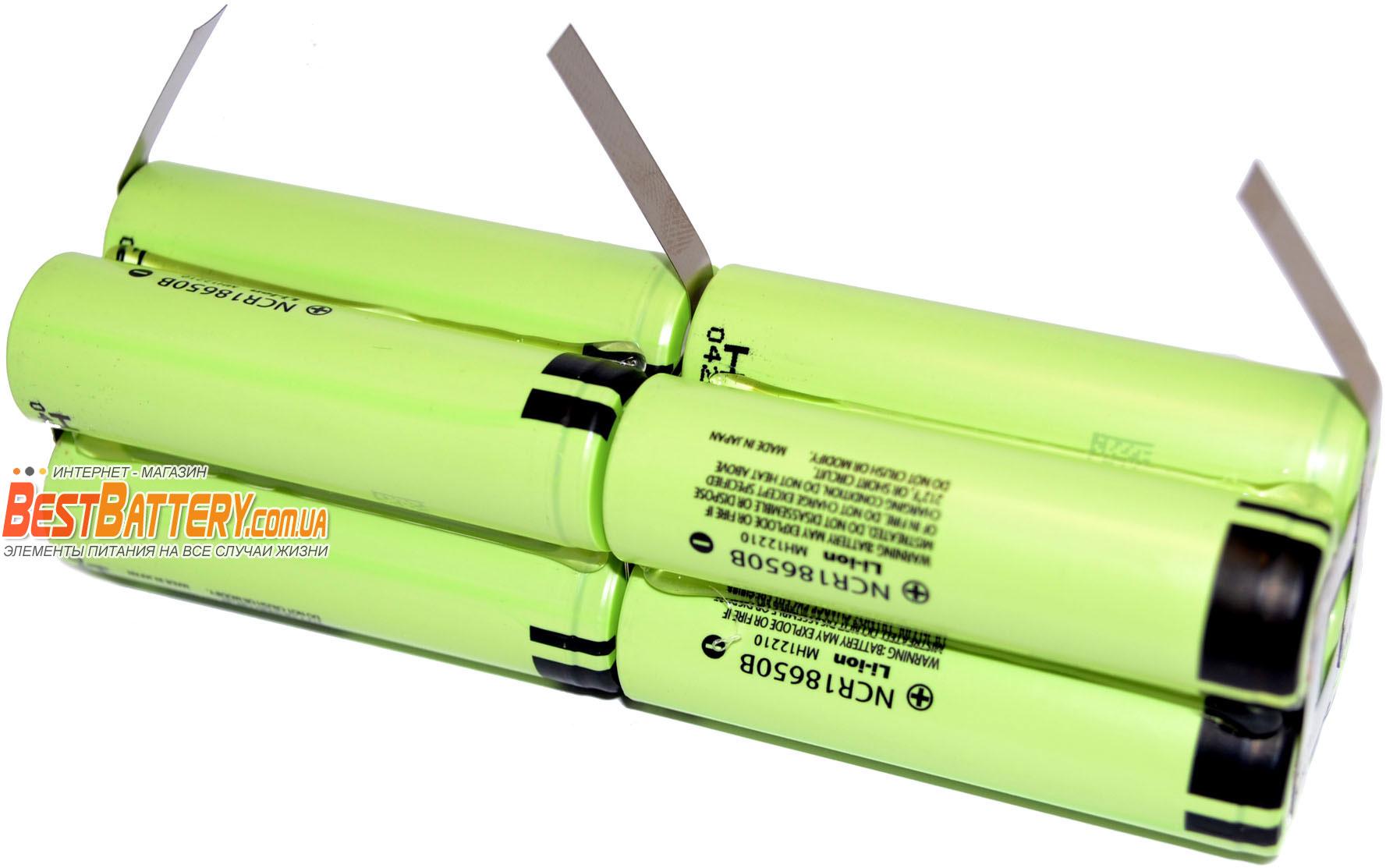 Аккумуляторная сборка для фонаря 2S4P 13 600 mAh 7,4В на базе Li-Ion 18650 Panasonic NCR18650B.