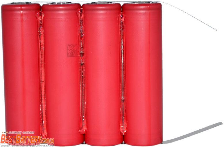 Сборка из 4 Li-Ion аккумуляторов 18650 на 14000 mAh.