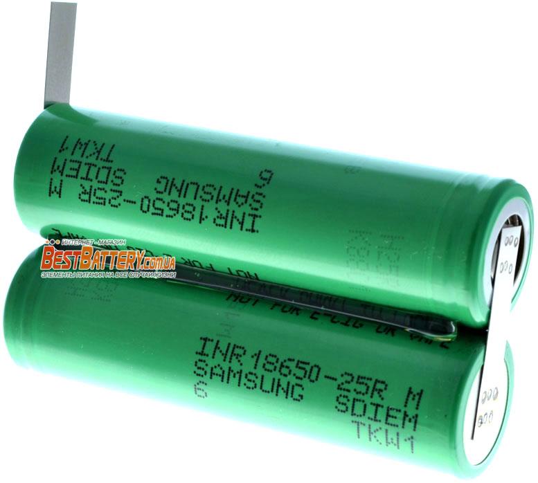 Сборка на 7,4В 2000 mAh из литиевых аккумуляторов 18650 Samsung 25R.