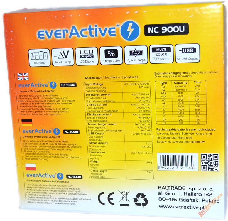 Комплект поставки EverActive NC 900U - коробка обратная часть.