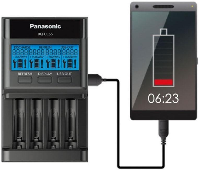 Panasonic BQ CC65E имеет USB выход (5V 1A)