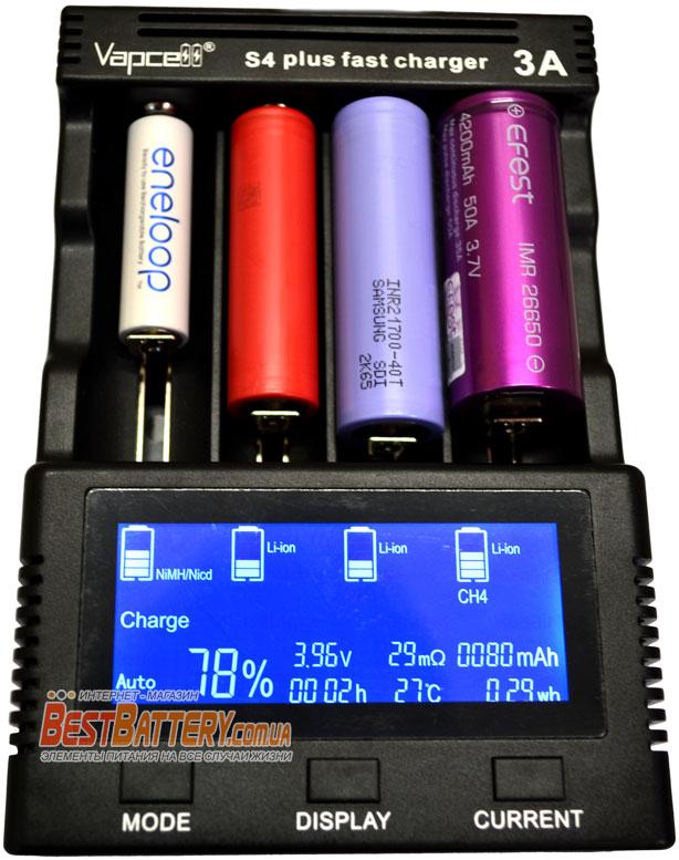 Vapcell S4 Plus может заряжать разные типы и форматы аккумуляторов.