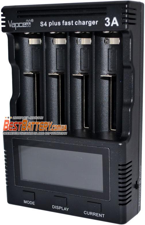 Быстрое зарядное устройство Vapcell S4 Plus для Ni-Mh, Ni-Cd и Li-Ion аккумуляторов.