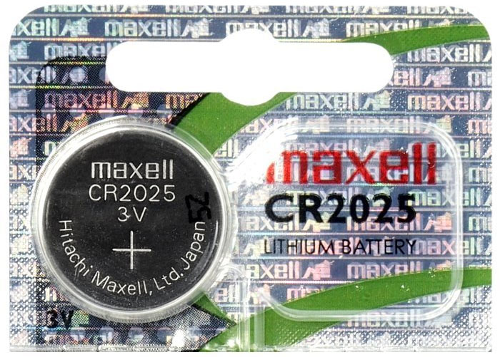 Батарейки Maxell CR 2025 Litium Power поставляются в картонных блистерах по 5 шт.