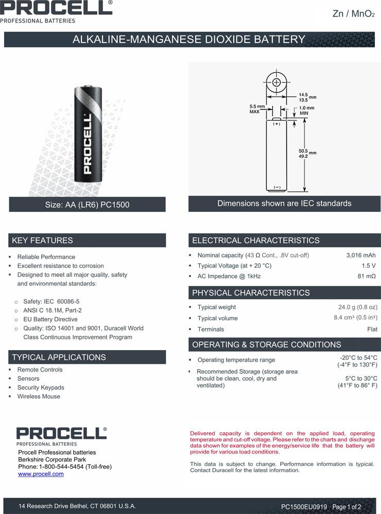 Техническая характеристика батареек AA Duracell Procell Alkaline.
