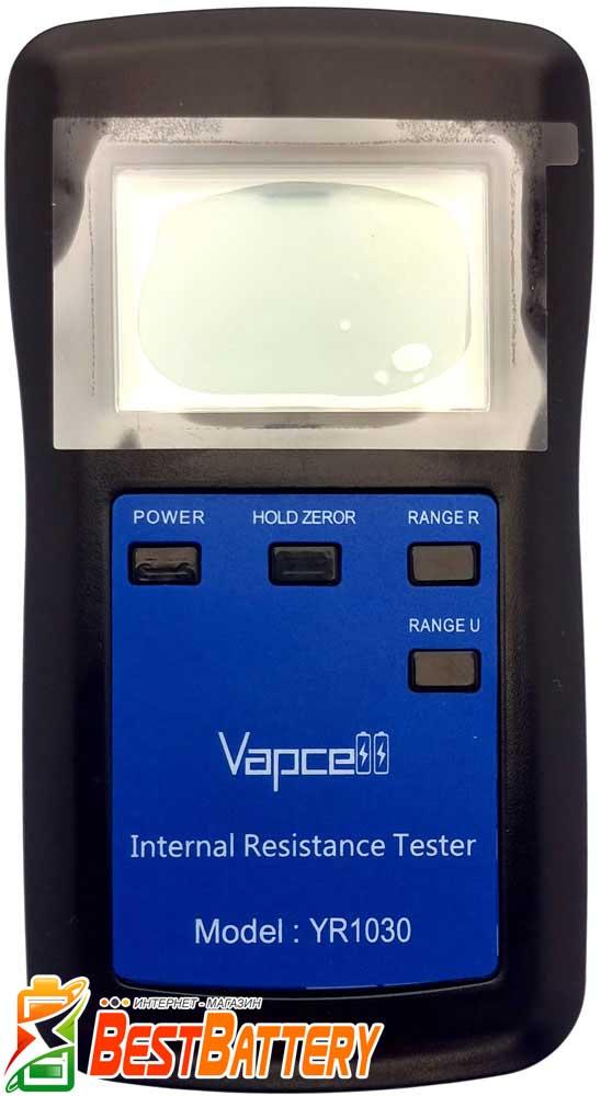 Тестер аккумуляторов Vapcell YR1030 для измерения внутреннего сопротивления и напряжения.